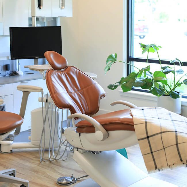 One of our office treatment rooms with a dental chair
